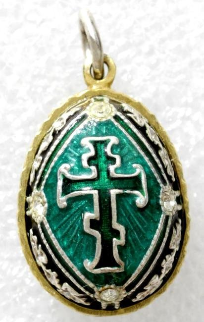 Enamel Silver Faberge style easter egg. Pendant