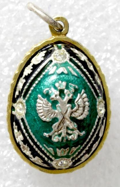 Enamel Silver Faberge style easter egg. Pendant - 2