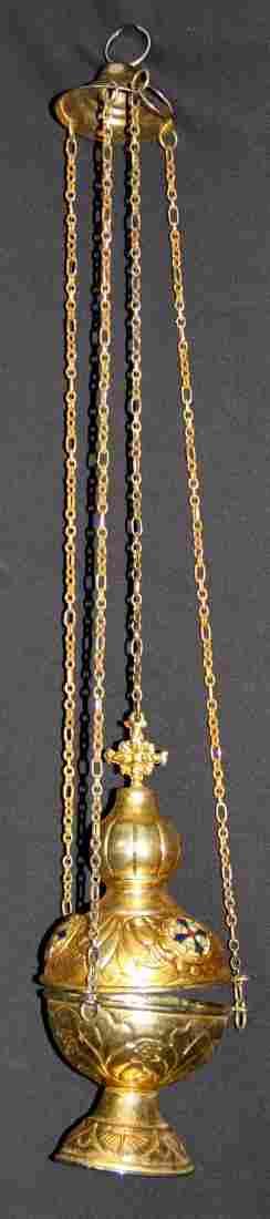 Thurible (Censor). Metal, enamel, 60 cm chain