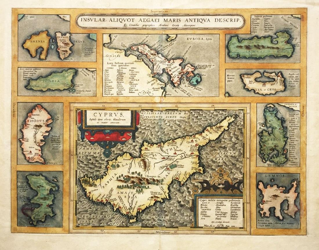 Ortelius: Composite Map of Cyprus / Aegean Islands 1584