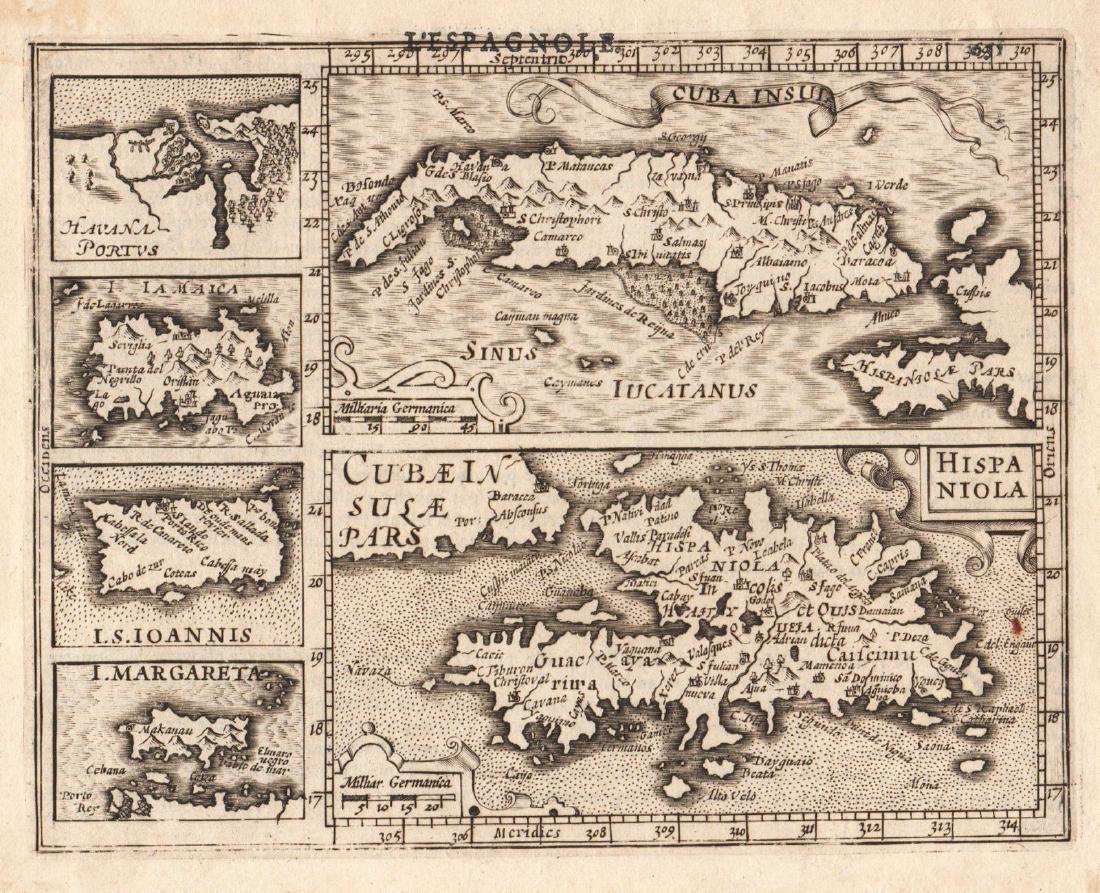 Mercator / Hondius: Miniature Composite West Indies Map