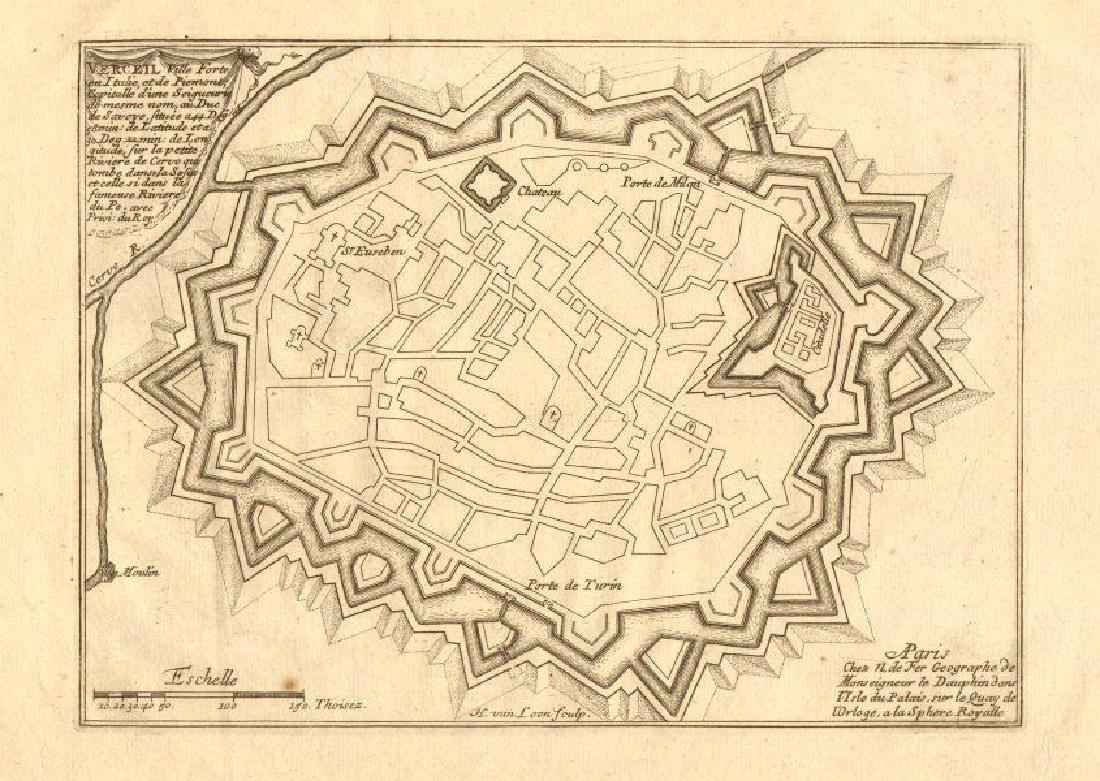 de Fer: Verceil'. Vercelli. Plan of town/city &