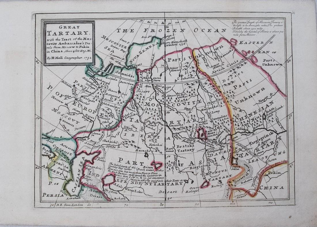 1732 Moll Map of Tartary and Central Asia -- Great