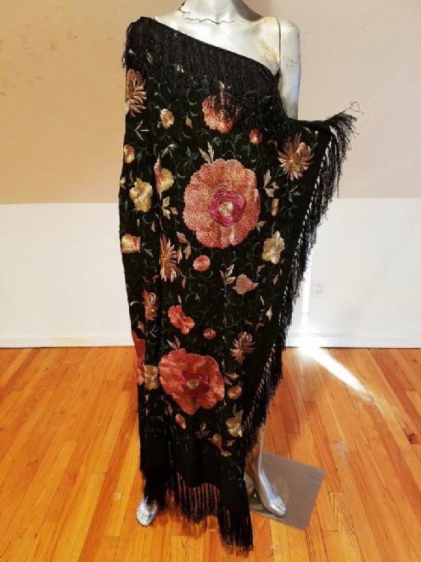 French 1940 silk large Mantilla hand embroidered Shawl