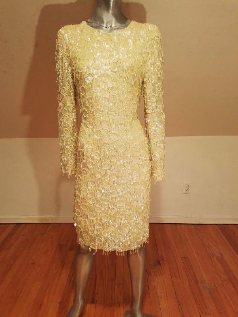 Hollywood Cabaret heavily beaded golden dress fringe