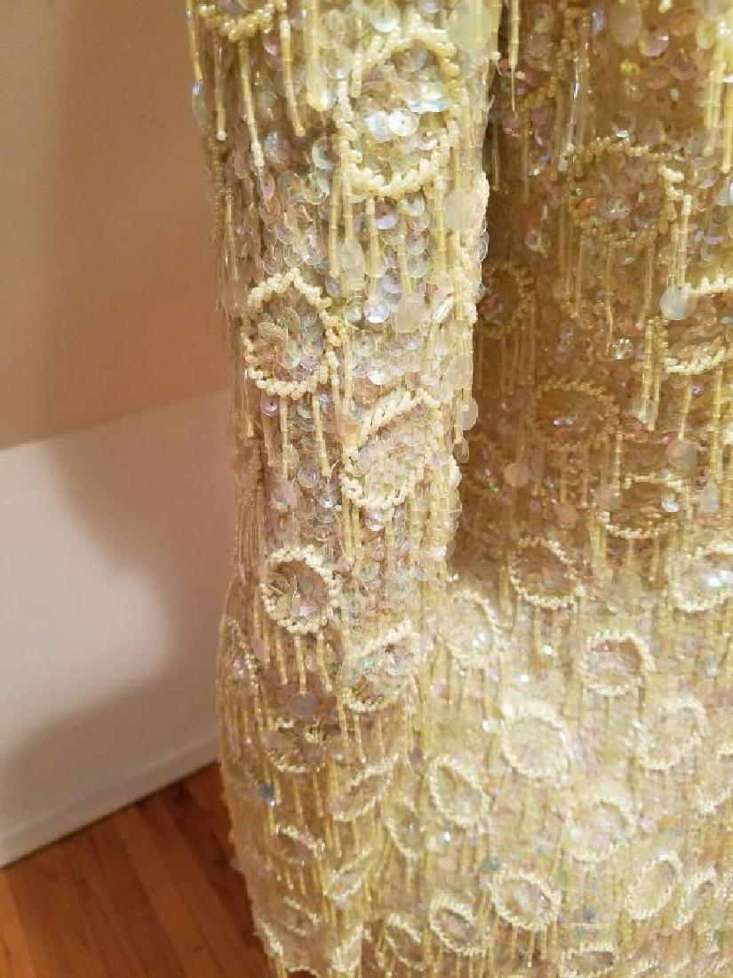 Hollywood Cabaret heavily beaded golden dress fringe - 2