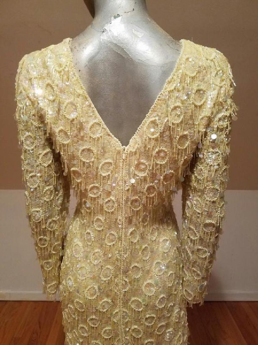 Hollywood Cabaret heavily beaded golden dress fringe - 4
