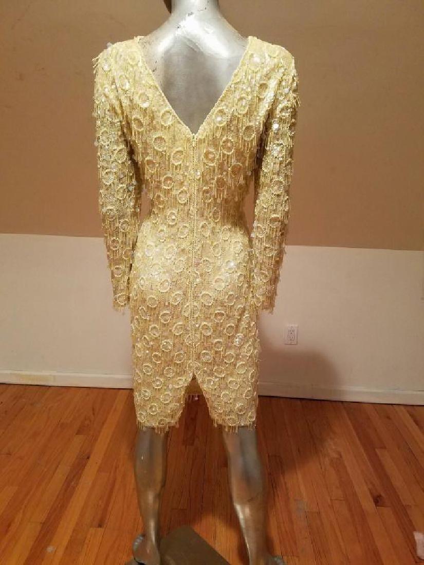 Hollywood Cabaret heavily beaded golden dress fringe - 5