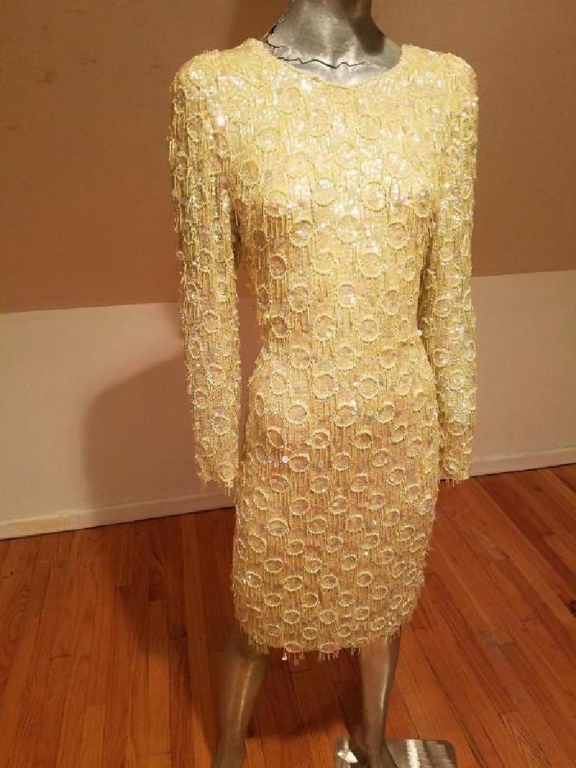 Hollywood Cabaret heavily beaded golden dress fringe - 6