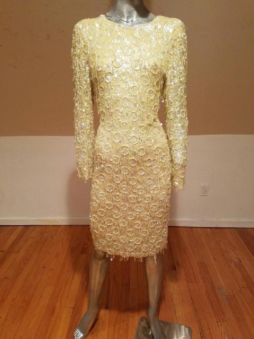 Hollywood Cabaret heavily beaded golden dress fringe - 7