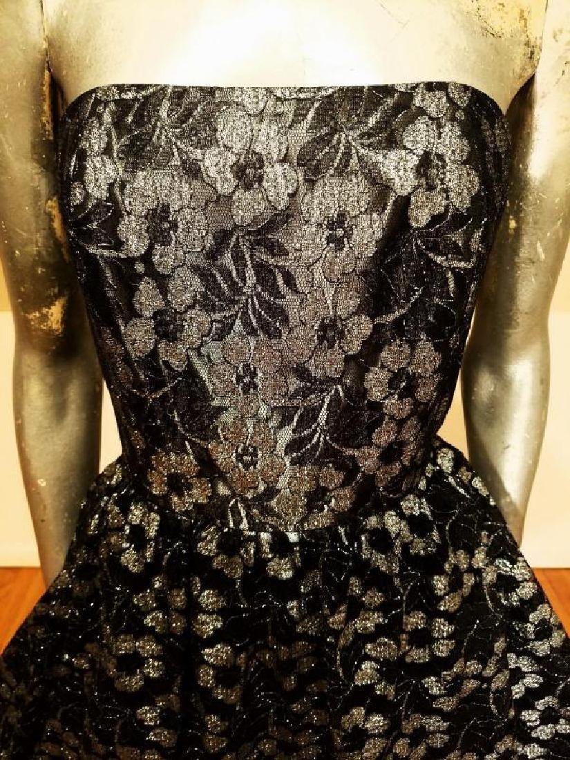 Vtg silver Lame' black lace & Tulle full sweep - 3