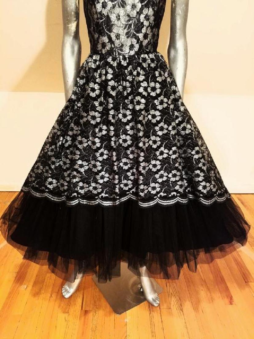 Vtg silver Lame' black lace & Tulle full sweep - 6