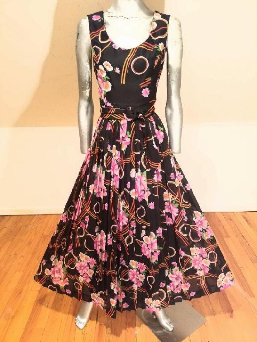Vtg Best & Co Fifth Ave maxi floral chiffon dress & - 10