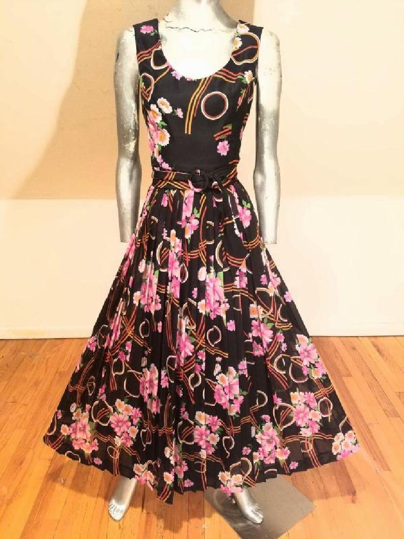 Vtg Best & Co Fifth Ave maxi floral chiffon dress &