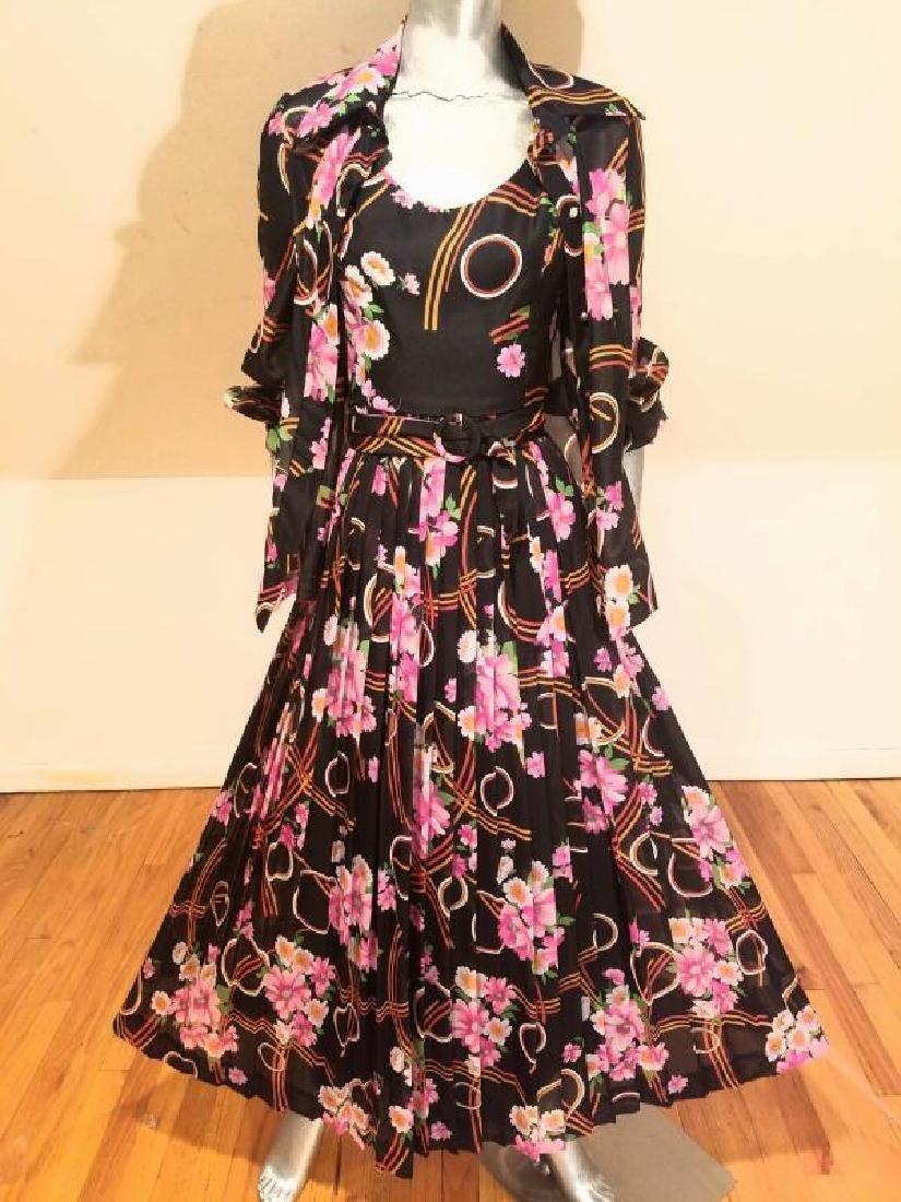 Vtg Best & Co Fifth Ave maxi floral chiffon dress & - 4
