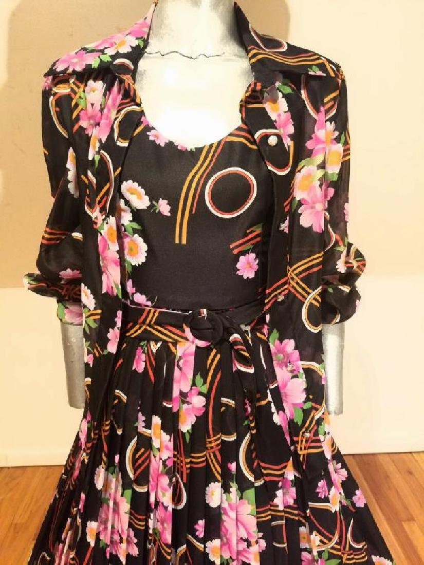 Vtg Best & Co Fifth Ave maxi floral chiffon dress & - 5