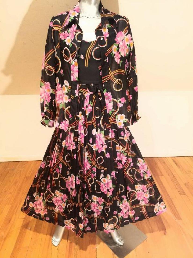 Vtg Best & Co Fifth Ave maxi floral chiffon dress & - 6