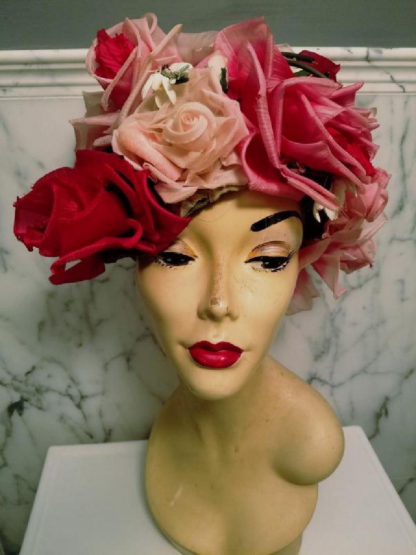 Vtg 1950's Don Anderson for Gimbels Millinery floral