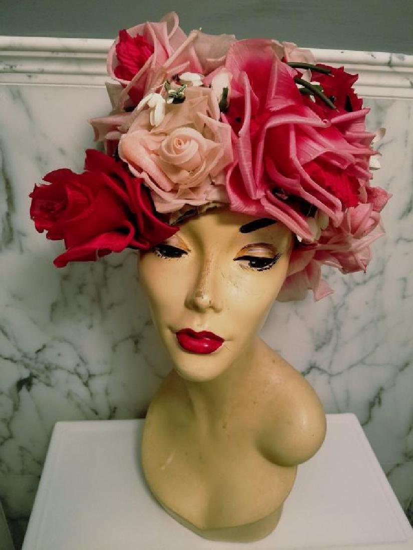 Vtg 1950's Don Anderson for Gimbels Millinery floral - 4