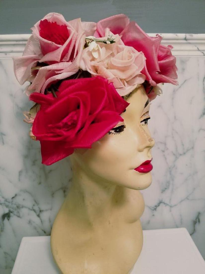Vtg 1950's Don Anderson for Gimbels Millinery floral - 6