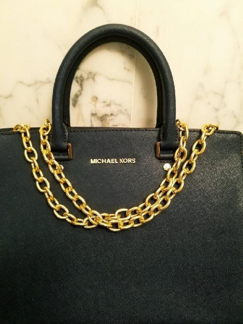 NWOT Michael Kors Selma Saffiano leather navy gold Bag - 10