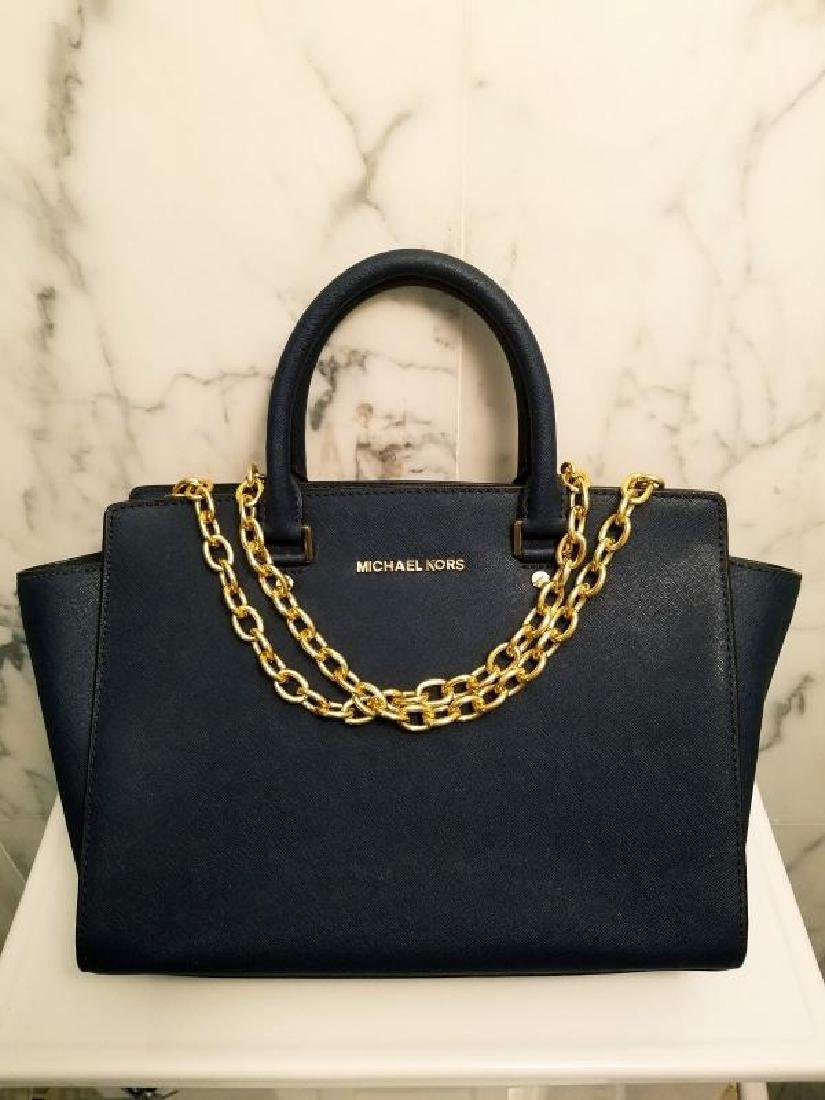 NWOT Michael Kors Selma Saffiano leather navy gold Bag