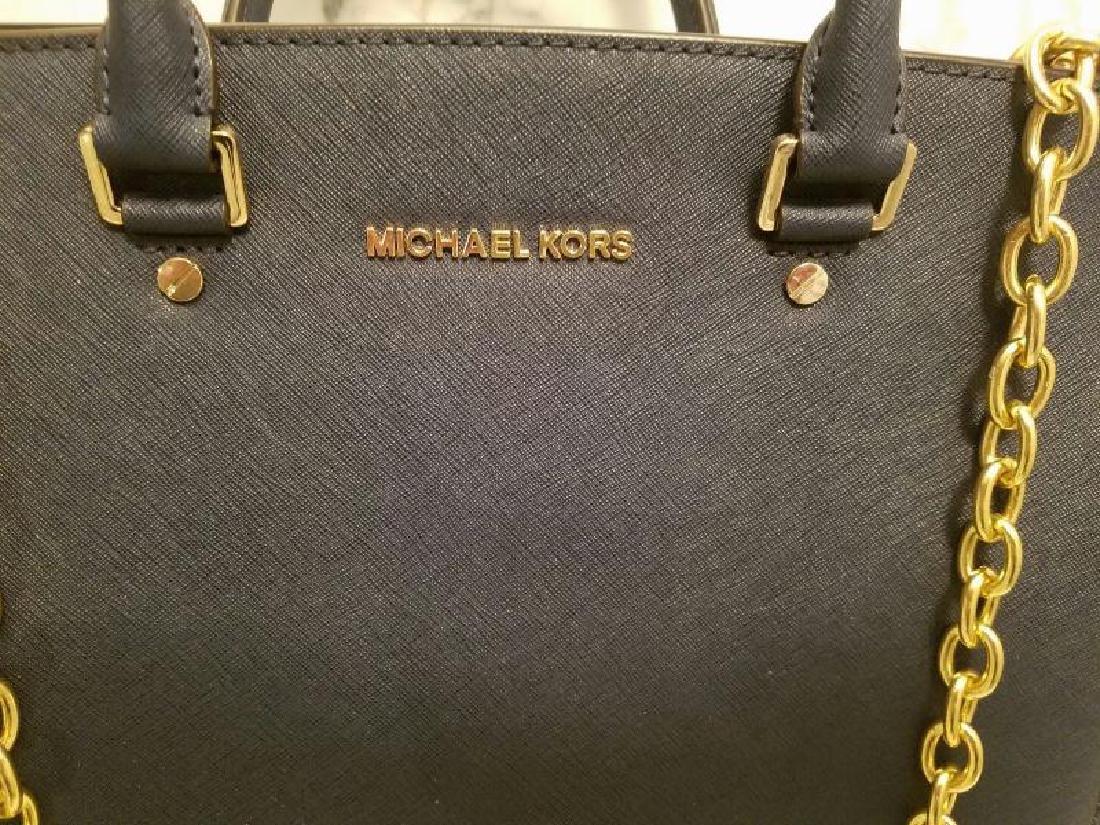 NWOT Michael Kors Selma Saffiano leather navy gold Bag - 2