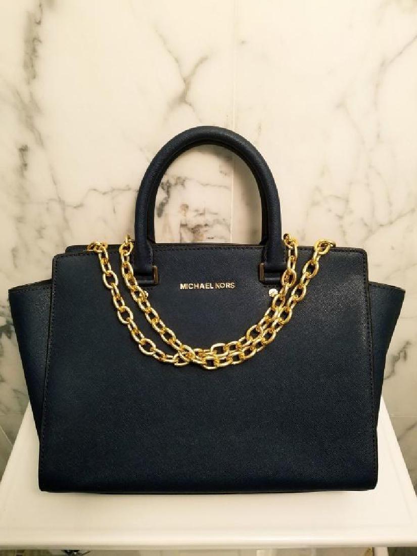 NWOT Michael Kors Selma Saffiano leather navy gold Bag - 8