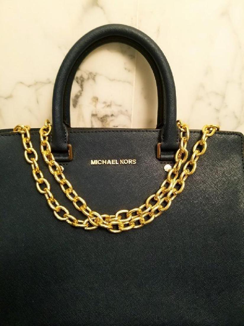 NWOT Michael Kors Selma Saffiano leather navy gold Bag - 9