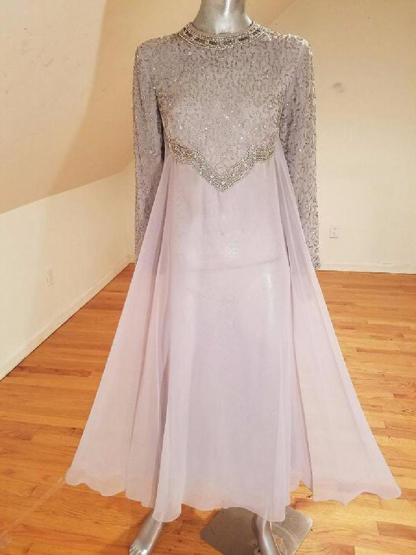 Vtg 1960's Silver Chiffon Empire crystal beaded gown ,