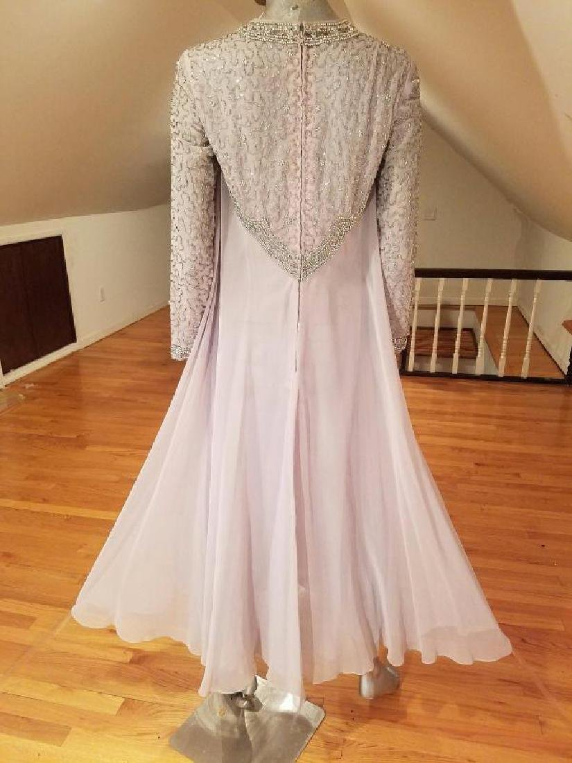 Vtg 1960's Silver Chiffon Empire crystal beaded gown , - 3