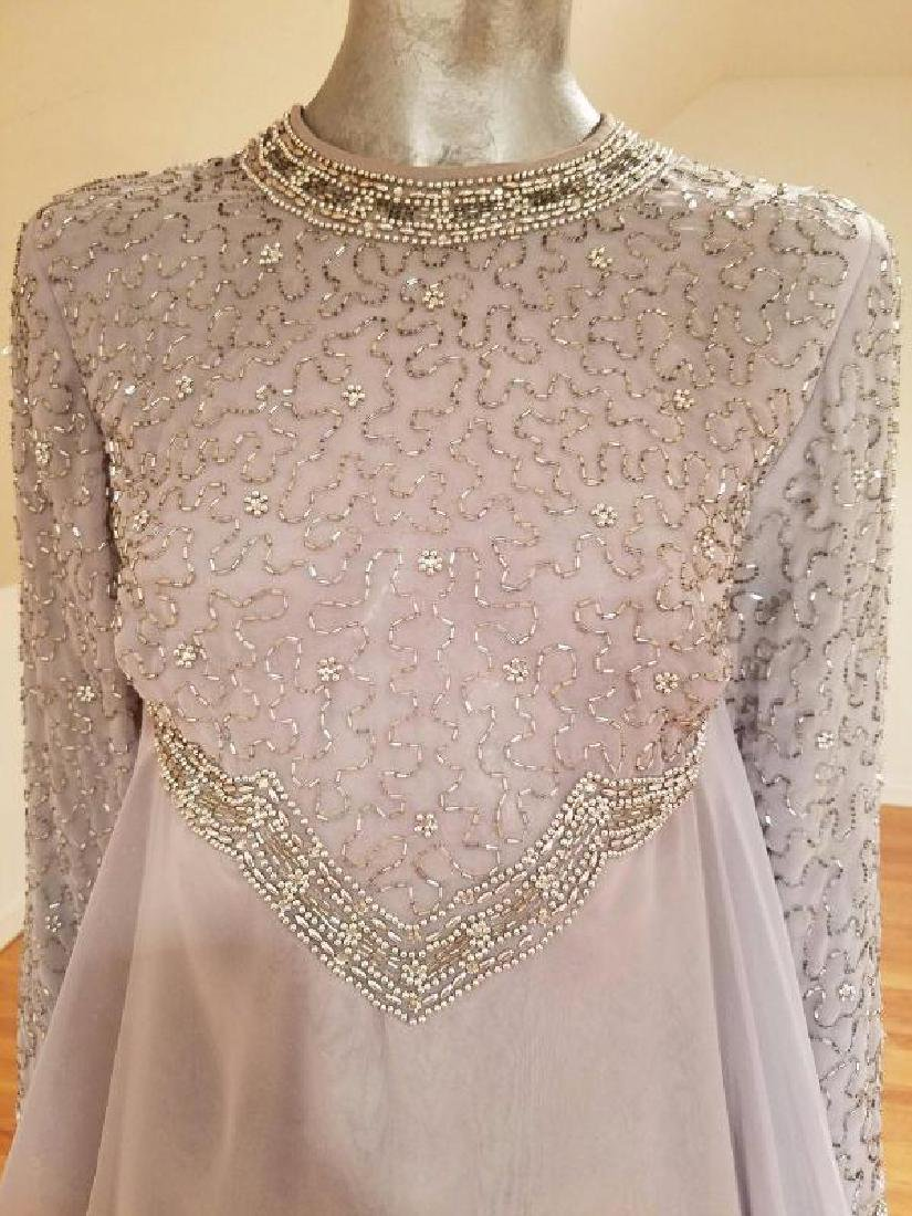 Vtg 1960's Silver Chiffon Empire crystal beaded gown , - 4