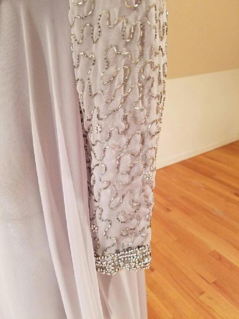 Vtg 1960's Silver Chiffon Empire crystal beaded gown , - 5