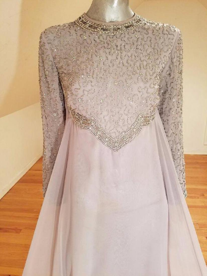 Vtg 1960's Silver Chiffon Empire crystal beaded gown , - 6