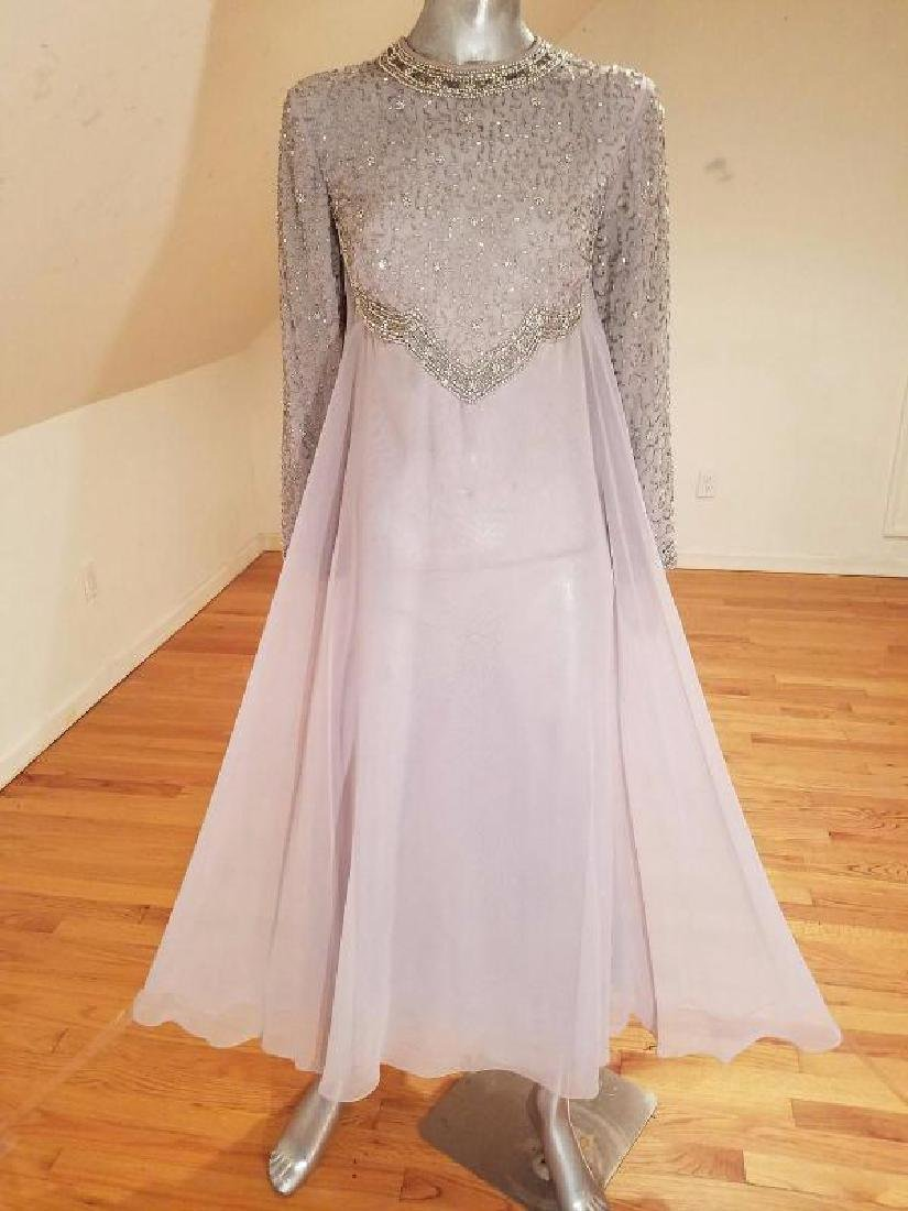 Vtg 1960's Silver Chiffon Empire crystal beaded gown , - 7