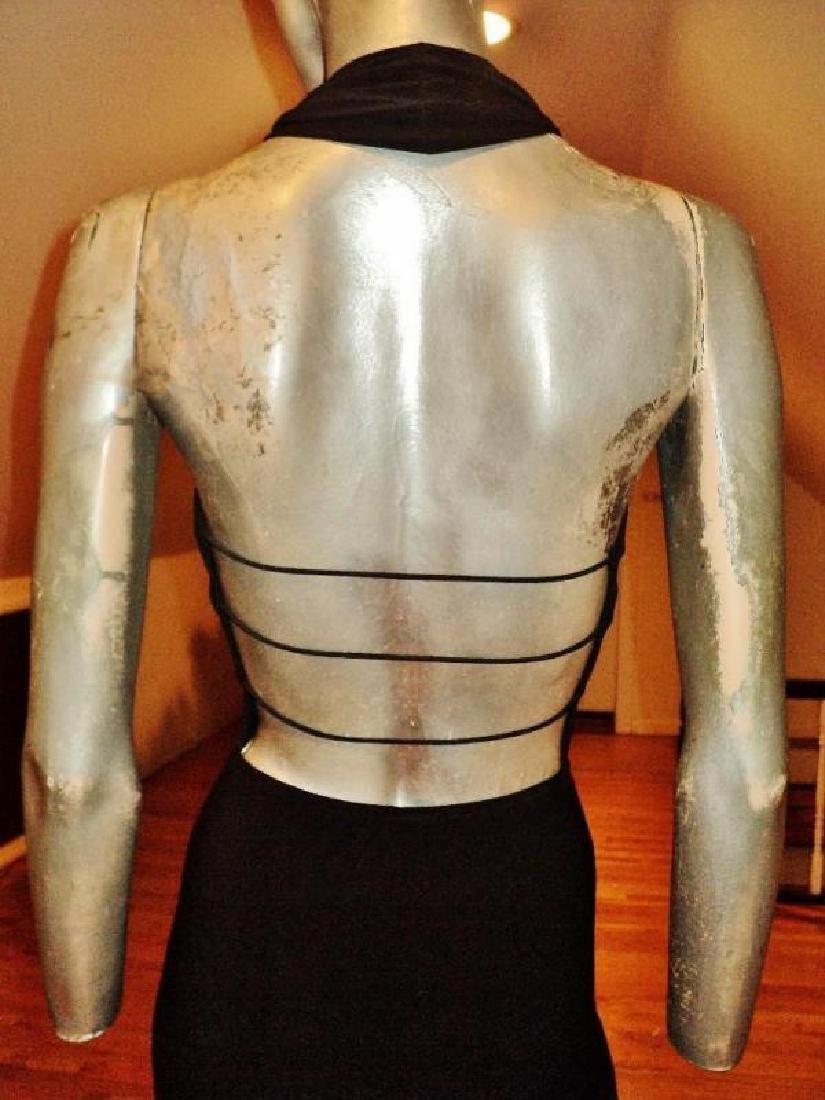 Vtg Cache' Body Con maxi dress silver front bar open - 2