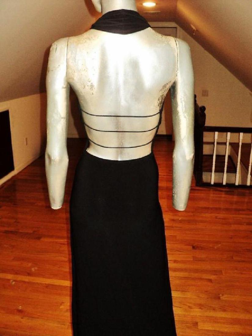 Vtg Cache' Body Con maxi dress silver front bar open - 3