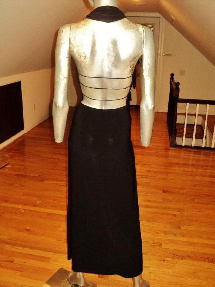 Vtg Cache' Body Con maxi dress silver front bar open - 4