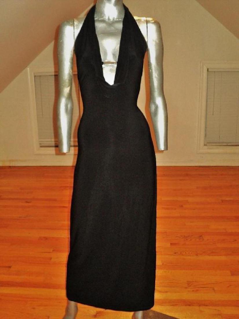 Vtg Cache' Body Con maxi dress silver front bar open - 6