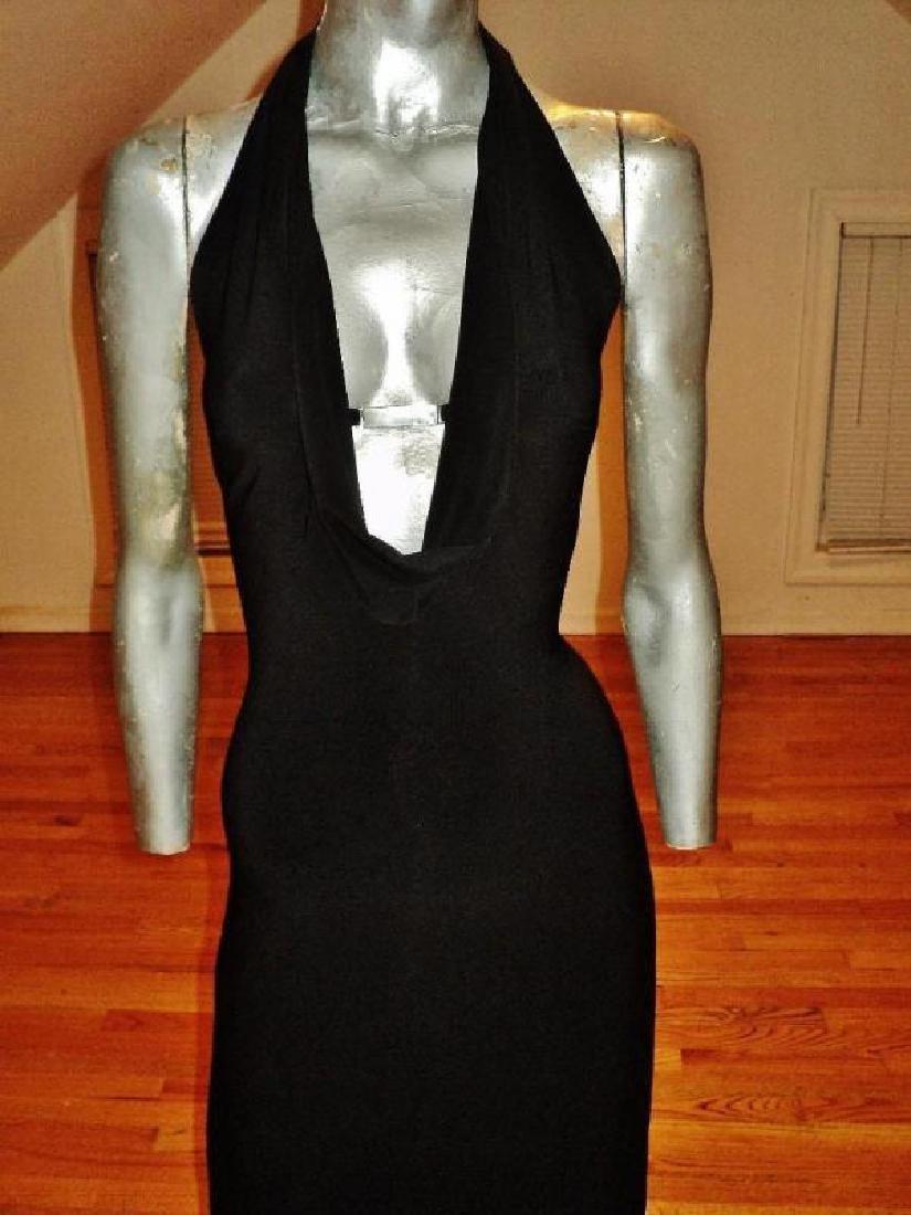 Vtg Cache' Body Con maxi dress silver front bar open - 8