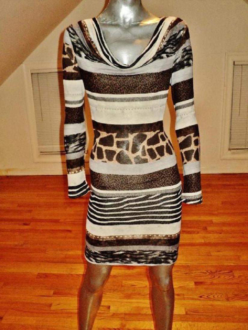 Luca Milano draped collar wiggle dress animal combo