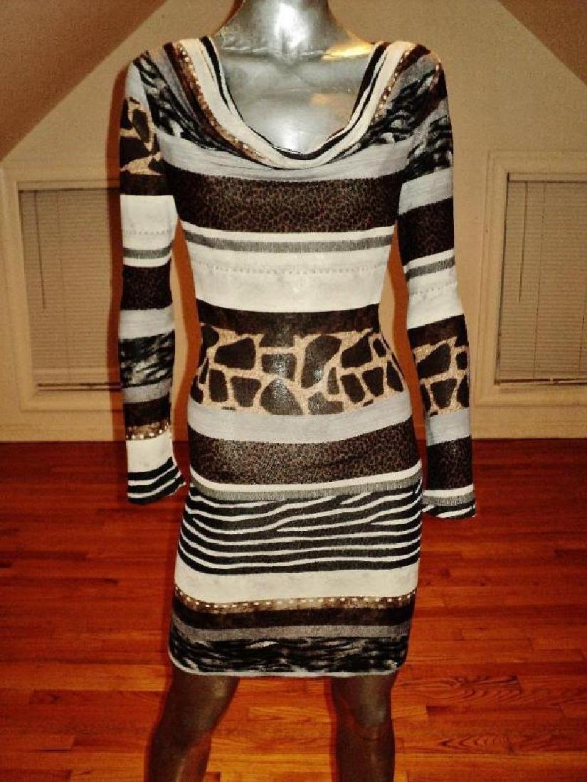Luca Milano draped collar wiggle dress animal combo - 2