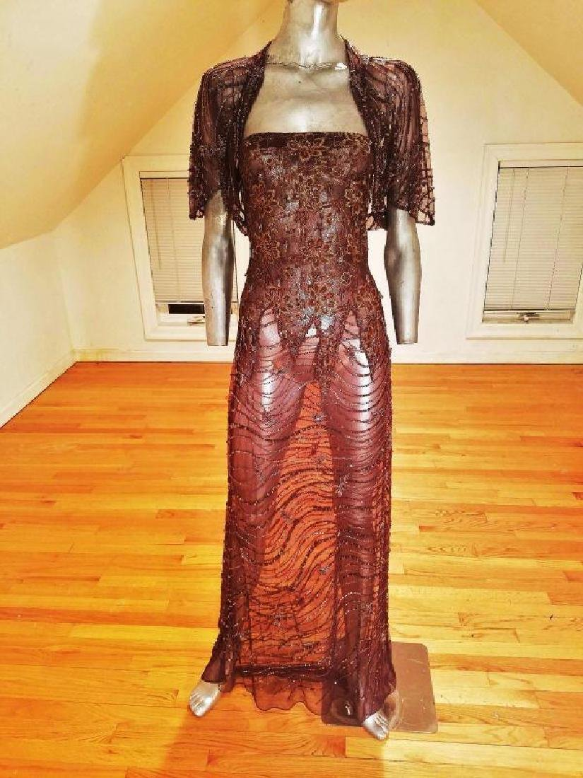 Vtg 1970's Layering lace gown w/bolero gold embossed