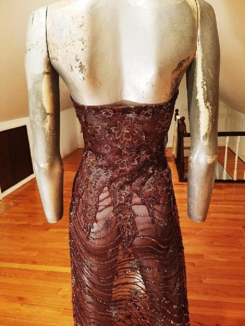 Vtg 1970's Layering lace gown w/bolero gold embossed - 2