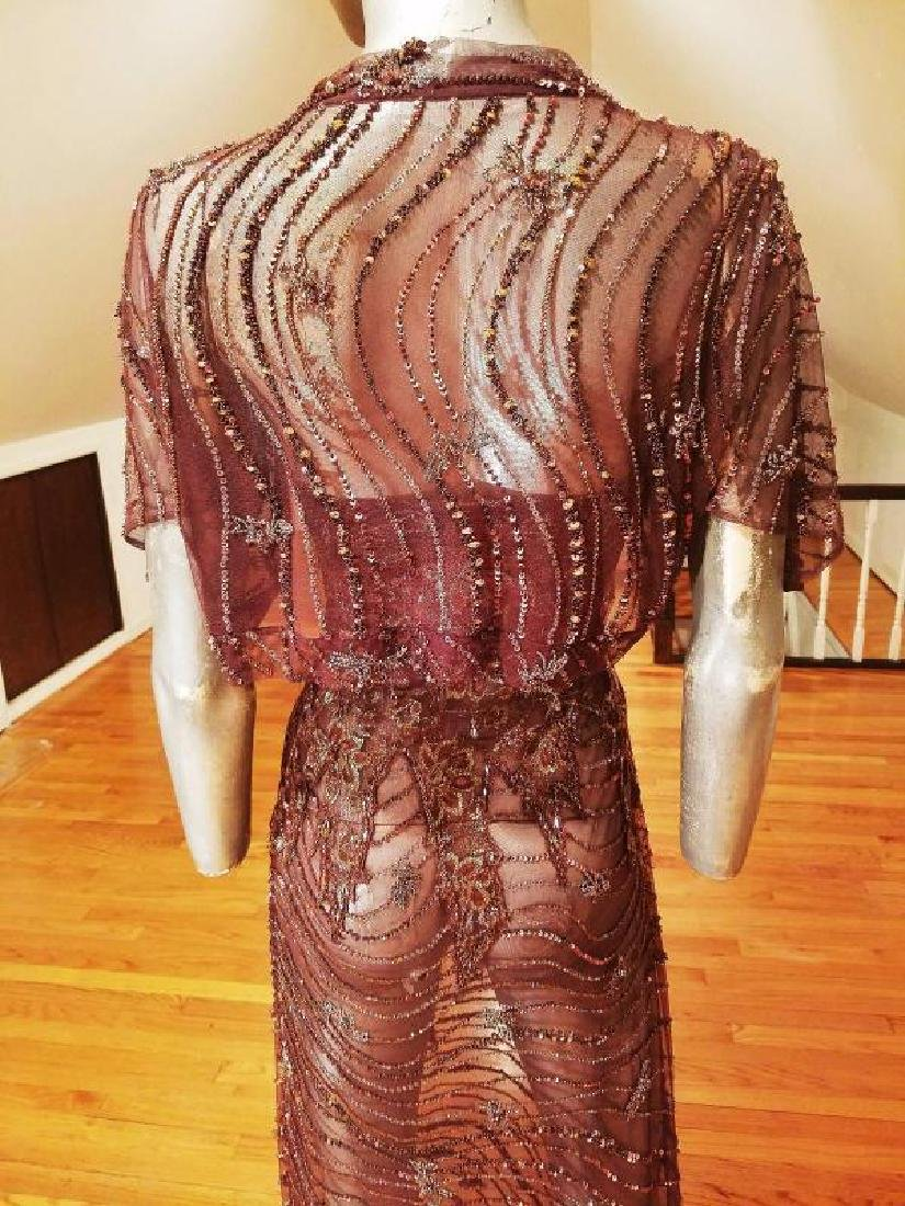 Vtg 1970's Layering lace gown w/bolero gold embossed - 3