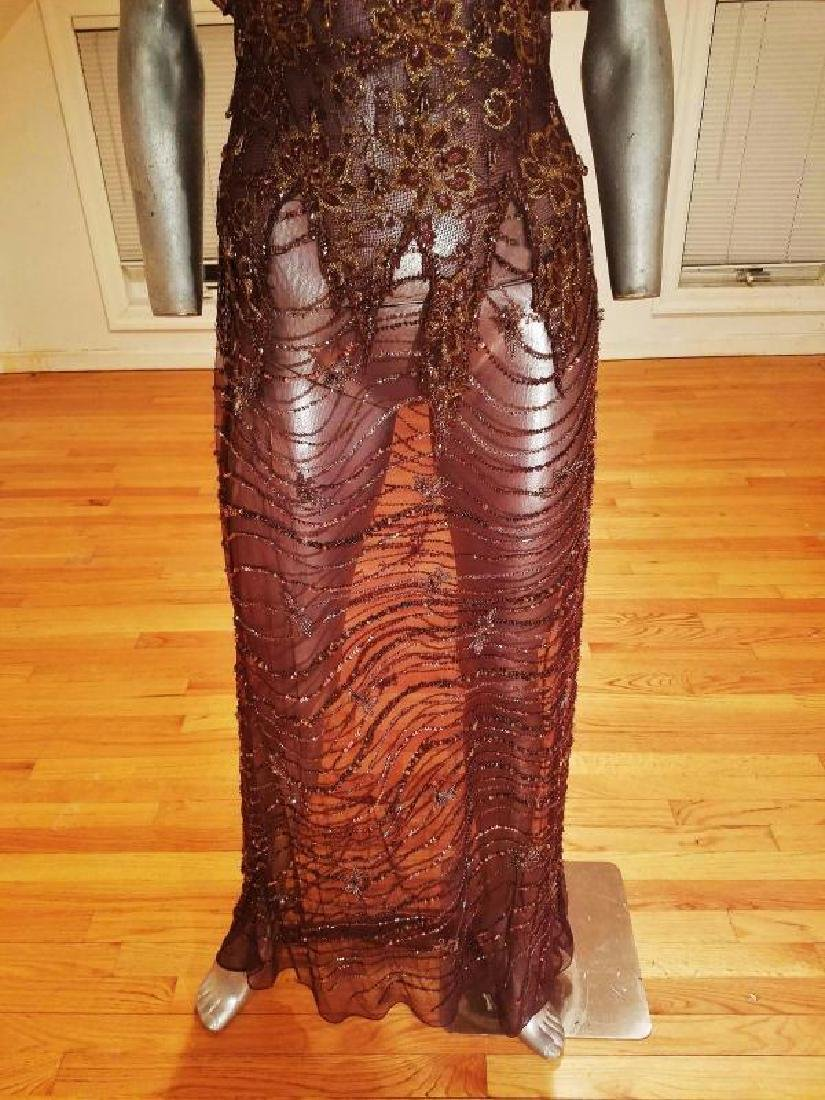 Vtg 1970's Layering lace gown w/bolero gold embossed - 5