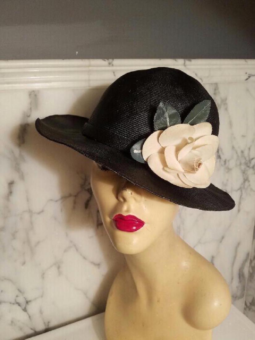 vtg Adolfo tilt brim straw hat millinery flower - 2
