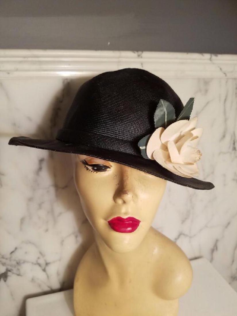 vtg Adolfo tilt brim straw hat millinery flower - 3