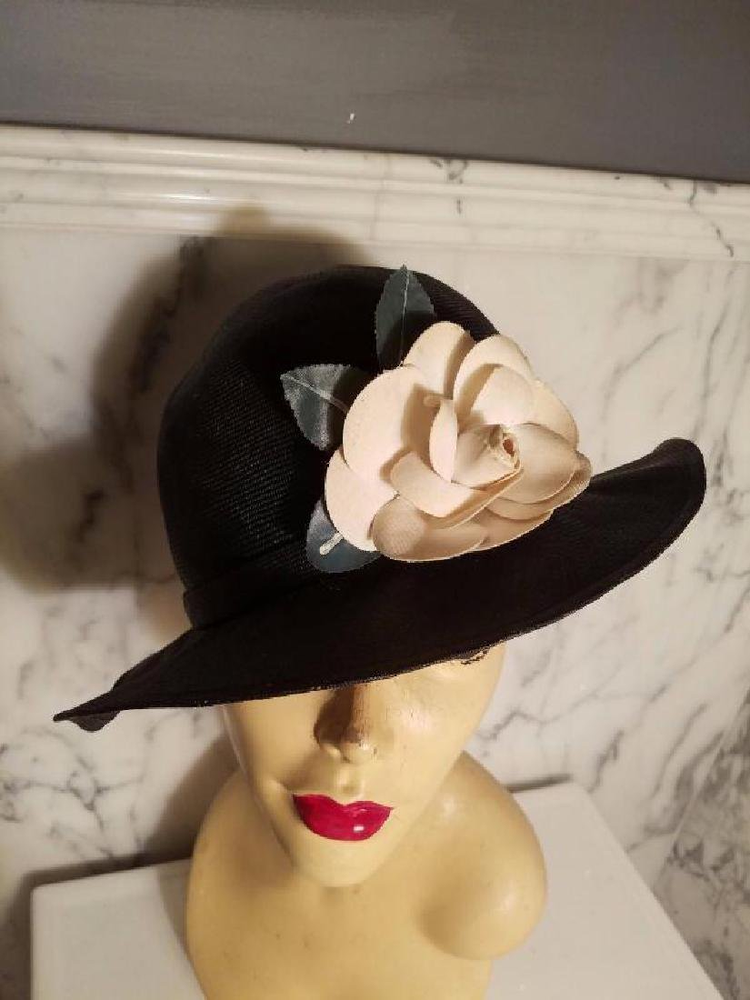 vtg Adolfo tilt brim straw hat millinery flower - 4