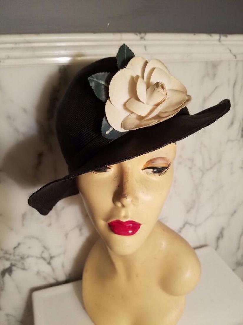 vtg Adolfo tilt brim straw hat millinery flower - 6